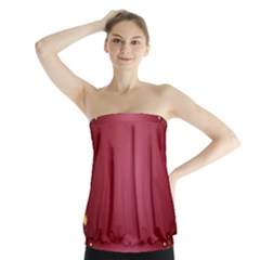 Red Background With A Pattern Strapless Top
