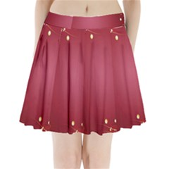 Red Background With A Pattern Pleated Mini Skirt