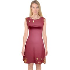 Red Background With A Pattern Capsleeve Midi Dress