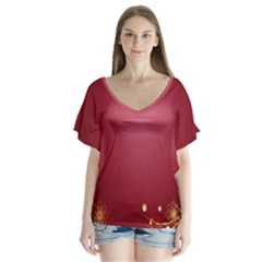 Red Background With A Pattern Flutter Sleeve Top