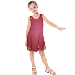 Red Background With A Pattern Kids  Sleeveless Dress