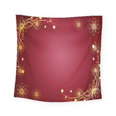 Red Background With A Pattern Square Tapestry (small)