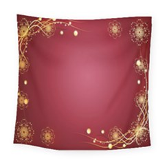 Red Background With A Pattern Square Tapestry (large)