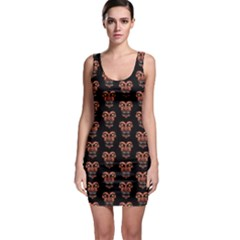 Dark Conversational Pattern Sleeveless Bodycon Dress