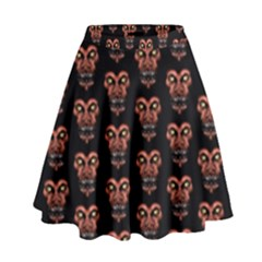 Dark Conversational Pattern High Waist Skirt