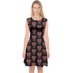Dark Conversational Pattern Capsleeve Midi Dress