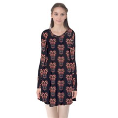 Dark Conversational Pattern Flare Dress