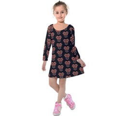 Dark Conversational Pattern Kids  Long Sleeve Velvet Dress