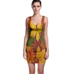 Colorful Autumn Leaves Leaf Background Sleeveless Bodycon Dress