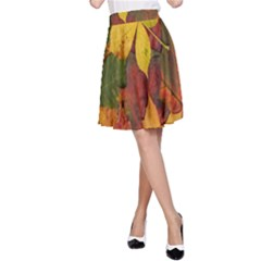 Colorful Autumn Leaves Leaf Background A Line Skirt