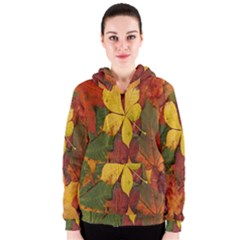 Colorful Autumn Leaves Leaf Background Women s Zipper Hoodie