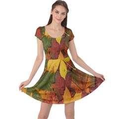 Colorful Autumn Leaves Leaf Background Cap Sleeve Dresses
