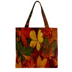 Colorful Autumn Leaves Leaf Background Zipper Grocery Tote Bag