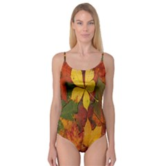 Colorful Autumn Leaves Leaf Background Camisole Leotard