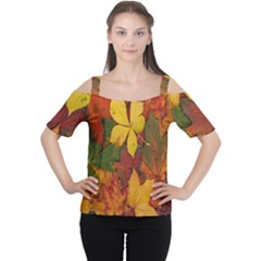 Colorful Autumn Leaves Leaf Background Women s Cutout Shoulder Tee