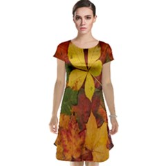 Colorful Autumn Leaves Leaf Background Cap Sleeve Nightdress