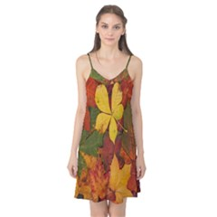 Colorful Autumn Leaves Leaf Background Camis Nightgown