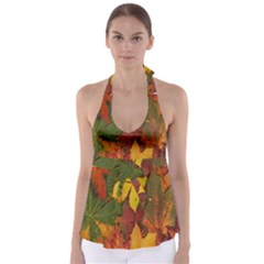 Colorful Autumn Leaves Leaf Background Babydoll Tankini Top