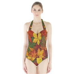 Colorful Autumn Leaves Leaf Background Halter Swimsuit