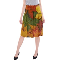 Colorful Autumn Leaves Leaf Background Midi Beach Skirt