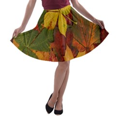 Colorful Autumn Leaves Leaf Background A Line Skater Skirt