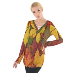 Colorful Autumn Leaves Leaf Background Women s Tie Up Tee