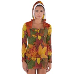 Colorful Autumn Leaves Leaf Background Women s Long Sleeve Hooded T Shirt
