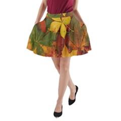 Colorful Autumn Leaves Leaf Background A Line Pocket Skirt