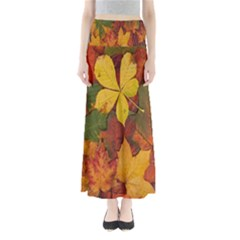 Colorful Autumn Leaves Leaf Background Maxi Skirts