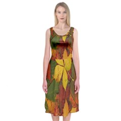 Colorful Autumn Leaves Leaf Background Midi Sleeveless Dress