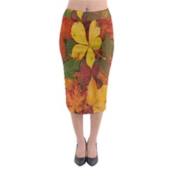 Colorful Autumn Leaves Leaf Background Midi Pencil Skirt