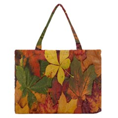 Colorful Autumn Leaves Leaf Background Medium Zipper Tote Bag