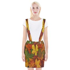 Colorful Autumn Leaves Leaf Background Suspender Skirt