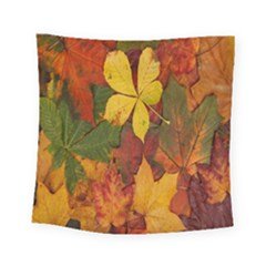 Colorful Autumn Leaves Leaf Background Square Tapestry (small)