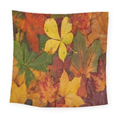 Colorful Autumn Leaves Leaf Background Square Tapestry (large)