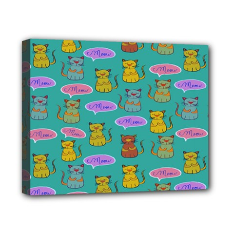 Meow Cat Pattern Canvas 10  X 8
