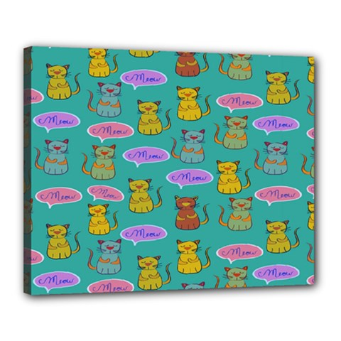 Meow Cat Pattern Canvas 20  X 16