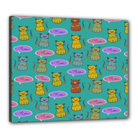Meow Cat Pattern Canvas 24  X 20