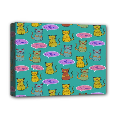 Meow Cat Pattern Deluxe Canvas 16  X 12