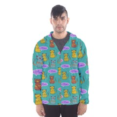 Meow Cat Pattern Hooded Wind Breaker (men)