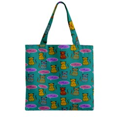 Meow Cat Pattern Zipper Grocery Tote Bag