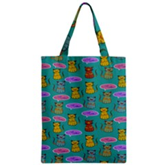 Meow Cat Pattern Zipper Classic Tote Bag