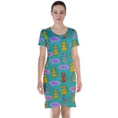 Meow Cat Pattern Short Sleeve Nightdress