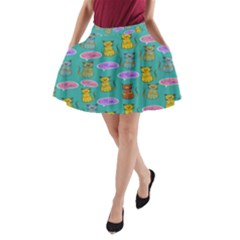 Meow Cat Pattern A Line Pocket Skirt