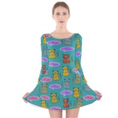 Meow Cat Pattern Long Sleeve Velvet Skater Dress