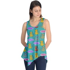 Meow Cat Pattern Sleeveless Tunic