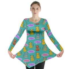 Meow Cat Pattern Long Sleeve Tunic