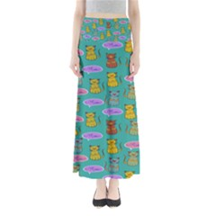 Meow Cat Pattern Maxi Skirts