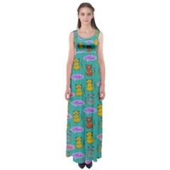 Meow Cat Pattern Empire Waist Maxi Dress
