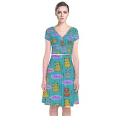 Meow Cat Pattern Short Sleeve Front Wrap Dress